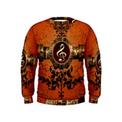 Wonderful Golden Clef On A Button With Floral Elements Boys  Sweatshirts