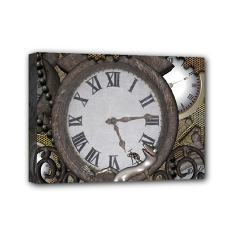 Steampunk, Awesome Clocks With Gears, Can You See The Cute Gescko Mini Canvas 7  X 5