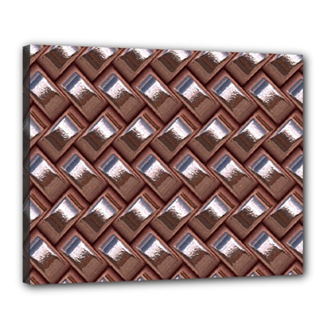 Metal Weave Pink Canvas 20  X 16  by MoreColorsinLife