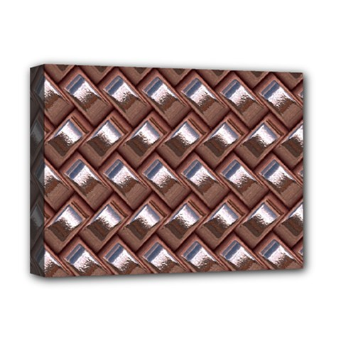 Metal Weave Pink Deluxe Canvas 16  X 12   by MoreColorsinLife