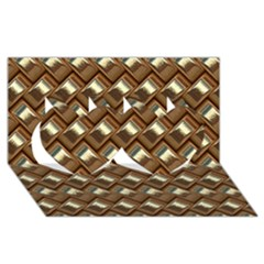 Metal Weave Golden Twin Hearts 3d Greeting Card (8x4)  by MoreColorsinLife