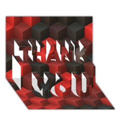 Artistic Cubes 7 Red Black Thank You 3d Greeting Card (7x5)  by MoreColorsinLife