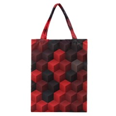 Artistic Cubes 7 Red Black Classic Tote Bags by MoreColorsinLife