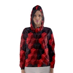 Artistic Cubes 7 Red Black Hooded Wind Breaker (women)