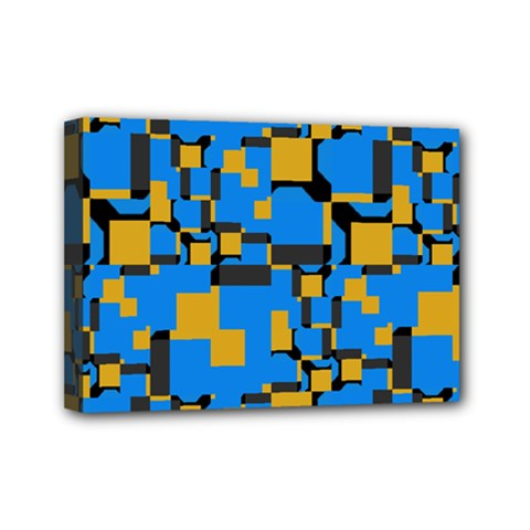 Blue Yellow Shapes Mini Canvas 7  X 5  (stretched)