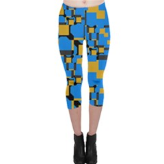 Blue Yellow Shapes Capri Leggings