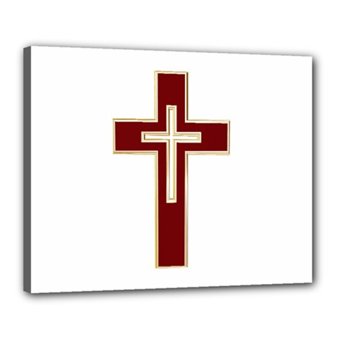 Red Christian Cross Canvas 20  X 16  (stretched) by igorsin