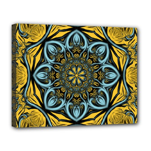 Blue Floral Fractal Canvas 14  X 11  by igorsin