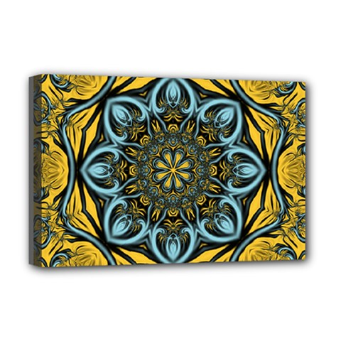 Blue Floral Fractal Deluxe Canvas 18  X 12   by igorsin