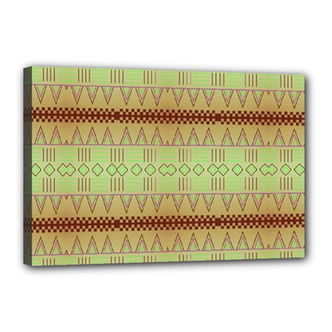 Aztec Pattern Canvas 18  X 12  (stretched) by LalyLauraFLM