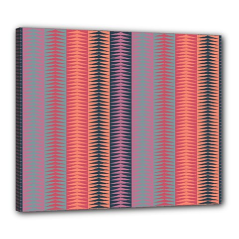 Triangles And Stripes Pattern Canvas 24  X 20  (stretched) by LalyLauraFLM