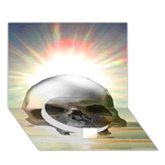 Skull Sunset Circle Bottom 3d Greeting Card (7x5)  by icarusismartdesigns