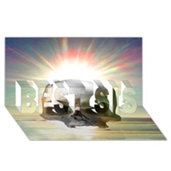 Skull Sunset Best Sis 3d Greeting Card (8x4)  by icarusismartdesigns