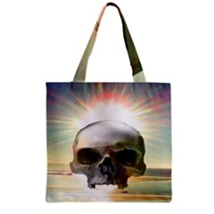 Skull Sunset Grocery Tote Bags by icarusismartdesigns