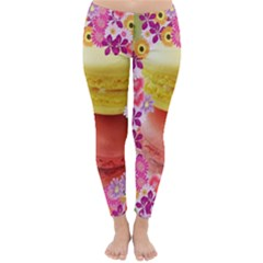 Macaroons And Floral Delights Winter Leggings by LovelyDesigns4U