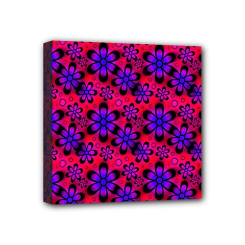 Neon Retro Flowers Pink Mini Canvas 4  X 4  by MoreColorsinLife