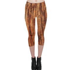 Old Brown Weathered Wood Capri Leggings by trendistuff