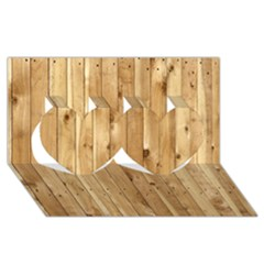 Light Wood Fence Twin Hearts 3d Greeting Card (8x4)