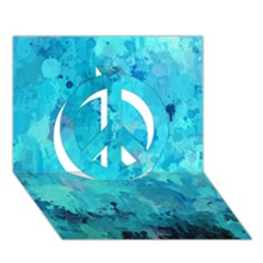 Splashes Of Color, Aqua Peace Sign 3d Greeting Card (7x5)  by MoreColorsinLife