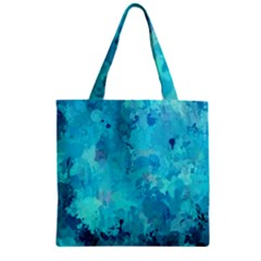 Splashes Of Color, Aqua Zipper Grocery Tote Bags