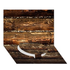 Dark Stained Wood Wall Circle Bottom 3d Greeting Card (7x5)  by trendistuff