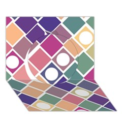 Dots And Squares Circle 3d Greeting Card (7x5)  by Kathrinlegg