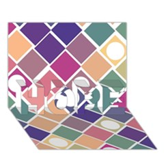 Dots And Squares Hope 3d Greeting Card (7x5)
