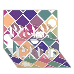 Dots And Squares Work Hard 3d Greeting Card (7x5)  by Kathrinlegg