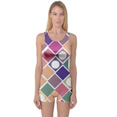 Dots And Squares One Piece Boyleg Swimsuit by Kathrinlegg