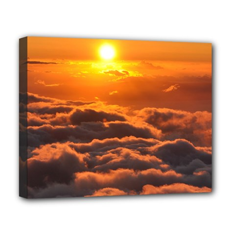 Sunset Over Clouds Deluxe Canvas 20  X 16   by trendistuff