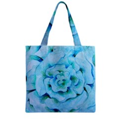 Blue Flower Grocery Tote Bags by BubbSnugg