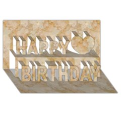 Tan Marble Happy Birthday 3d Greeting Card (8x4)  by trendistuff