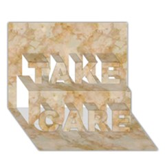 Tan Marble Take Care 3d Greeting Card (7x5)  by trendistuff