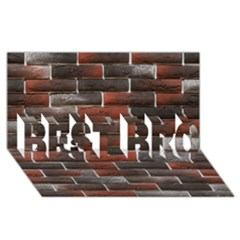 Red And Black Brick Wall Best Bro 3d Greeting Card (8x4)