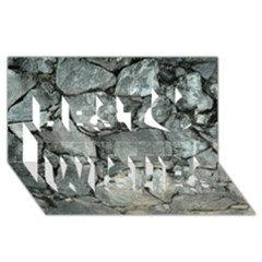 Grey Stone Pile Best Wish 3d Greeting Card (8x4)  by trendistuff