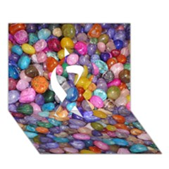 Colored Pebbles Ribbon 3d Greeting Card (7x5)  by trendistuff