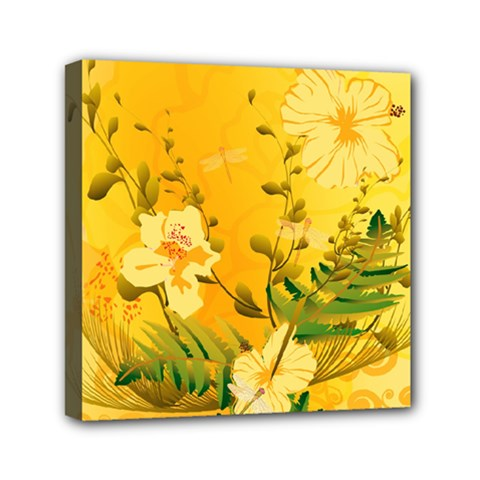 Wonderful Soft Yellow Flowers With Dragonflies Mini Canvas 6  X 6  by FantasyWorld7
