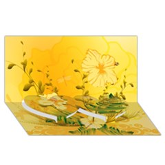 Wonderful Soft Yellow Flowers With Dragonflies Twin Heart Bottom 3d Greeting Card (8x4)  by FantasyWorld7