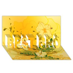 Wonderful Soft Yellow Flowers With Dragonflies Best Bro 3d Greeting Card (8x4)  by FantasyWorld7