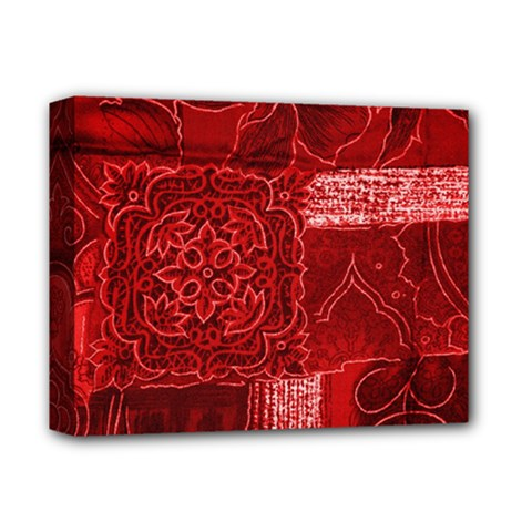 Red Patchwork Deluxe Canvas 14  X 11  by trendistuff