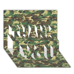 Camo Woodland Thank You 3d Greeting Card (7x5)  by trendistuff
