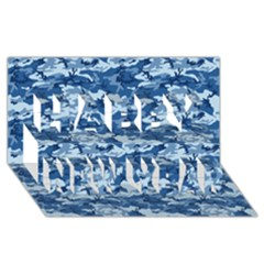 Camo Navy Happy New Year 3d Greeting Card (8x4)
