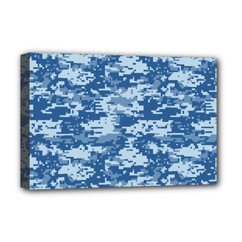 Camo Digital Navy Deluxe Canvas 18  X 12   by trendistuff