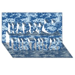 Camo Digital Navy Happy Birthday 3d Greeting Card (8x4)  by trendistuff