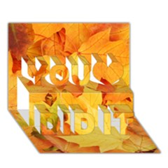 Yellow Maple Leaves You Did It 3d Greeting Card (7x5) by trendistuff