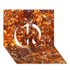 Orange Leaves Peace Sign 3d Greeting Card (7x5)
