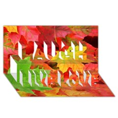 Autumn Leaves 1 Laugh Live Love 3d Greeting Card (8x4)  by trendistuff