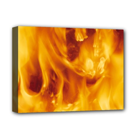 Yellow Flames Deluxe Canvas 16  X 12   by trendistuff