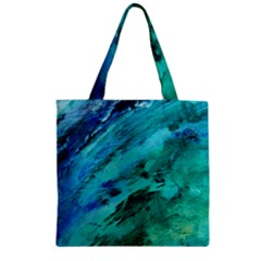 Shades Of Blue Zipper Grocery Tote Bags by trendistuff
