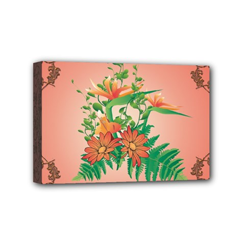 Awesome Flowers And Leaves With Floral Elements On Soft Red Background Mini Canvas 6  X 4  by FantasyWorld7